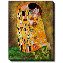 "OverstockArt Gustav Klimt The Kiss 30""X40"" Gallery Wrapped Oil on Canvas"