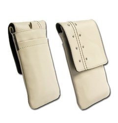Krusell 95244 Kalix Mobile Leather Case for iPhone 4 / 4S, Sony Xperia Arc S, HTC One V and Other SmartPhones with 3.2 / 4.2 inch Screen - Sand
