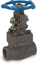 "Sharpe Valves 34834 Series Carbon Steel Gate Valve, Class 800, Rising Stem, Inline, Hand Wheel, 1"" Socket Weld"