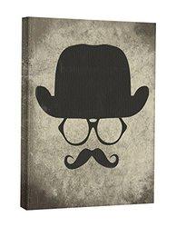 JP London CNV2321 Vintage Moustache Shadow Glasses Invisible Man Canvas Art Wall Decor, 2' x 1.5'