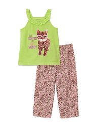 Komar Kids Little Girl's Cat Tank 2 Piece Pajama Set - Oat Multi - Size: M
