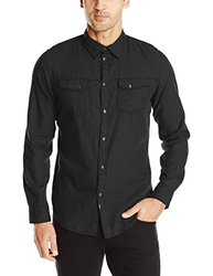Calvin Klein Men's Brushed Twill Shirt - Inkwell Heather - Size: Small