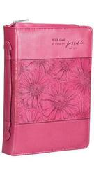Christian Art Lux Leather Bible Cover with God - Pink