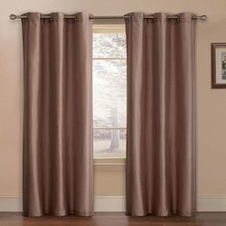"Preston Faux-Silk Lined Curtain Panel - Set of 2 - Taupe - Sz: 80"" x 84"""