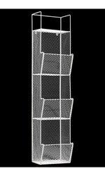 Benzara Metal Wall Rack With Mesh Sides And 3 Bins