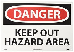 "National Marker ""Danger Keep Out Hazard Area"" Safety Sign - White"