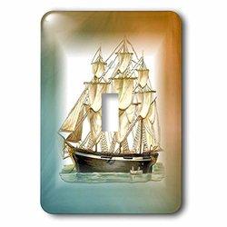 3dRose Print of Vintage Sailboat On Aqua & Amber Single Toggle Switch
