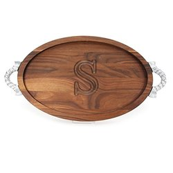 BigWood Boards Oval Walnut Wood Monogrammed Serving Tray - S