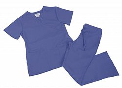 Women's Mock Wrap/Flare Scrub Set - Ceil Blue - Size: 3XXL