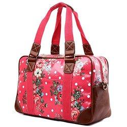Miss Lulu Women's Oilcloth Butterfly Design Travel Bag - Flower Plum