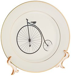 3dRose cp_180654_1 Image of Black and White Large Wheel Vintage Bicycle Porcelain Plate, 8-Inch
