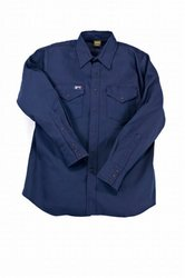 LAPCO INV7-4XL-LONG Lightweight 100-Percent Cotton Flame Resistant Work Shirt, Navy, 4X-Large, Long