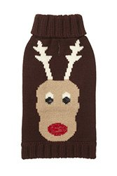 "Fab Dog Holiday Reindeer Knit Turtleneck Dog Sweater, Chocolate, 10"" Length"