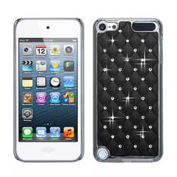 MyBat Black Silver Plating Luxurious Lattice Alloy Elite Dazzling Back Protector Cover with Diamonds with Package for iPod touch 5