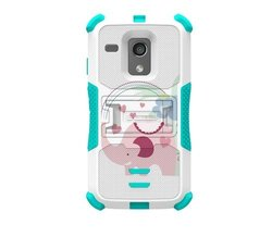 Beyond Cell Tri-Shield Durable Hybrid Hard Shell and Silicone Gel Case for Motorola Moto G XT1032 - Retail Packaging - White/Light Blue
