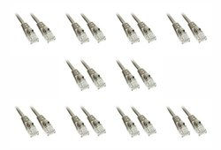 C&E Cat6a 1-Foot Snagless/Molded Boot 500 MHz Ethernet Patch Cable, 10-Pack, Gray (CNE58518)