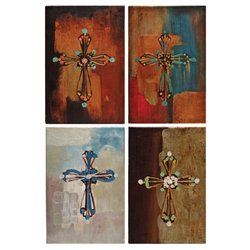 Donnie Reflection of Hope/Peace/Joy/Light Canvas Cross Oil Paintings - 4Pk