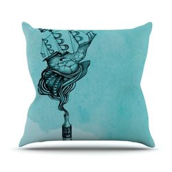 "Kess InHouse Graham Curran ""All Aboard Teal"" Outdoor Throw Pillow, 18 by 18-Inch"