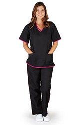 Natural Uniforms Women's Contrast Trim Scrub Set - Black/Pink - Size: M