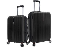Tasmania Expandable 25'' & 21'' Polycarbonate Spinner Set: Black