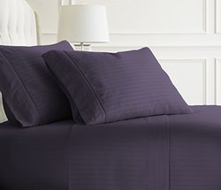 Merit Linens  Dobby Stripe Bed Sheet Set (4-Piece): Full/Purple