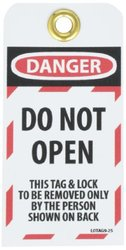 "NMC LOTAG9-25 ""DANGER - DO NOT OPEN"" Lockout Tag, Unrippable Vinyl, 3"" Length, 6"" Height, Black/Red on White (Pack of 25)"