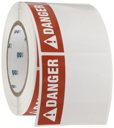 "Brady THTEL-184-483-1-DA 3"" Width x 3"" Height, B-483 Ultra Aggressive Polyester, Red on White, Danger Arc Flash Label (1000 per Roll)"