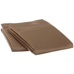 1500 Thread Count King 2-Piece Pillowcase Set, Solid, Single Ply, Taupe