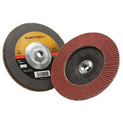 "3M Cubitron II Flap Disc 967A, Type 27, Threaded Attachment, Cloth, Ceramic Grain, 7"" Diameter, 80+ Grit, Brown (Pack of 5)"