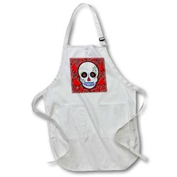 3dRose apr_28866_4 Day of The Dead Skull Dia De Los Muertos Sugar Skull Red Black Scroll-Full Length Apron with Pockets, 22 by 30-Inch, Black