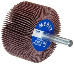 "Merit High Performance Mandrel-Mounted Mini Grind-O-Flex Abrasive Flap Wheel, Round Shank, Ceramic Aluminum Oxide, 1"" Dia., 5/8"" Face Width, Grit 240, 30000 Max RPM (Pack of 10)"