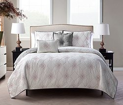 Embroidered Reversible 5-Piece Quilt Sets: Grey-Queen