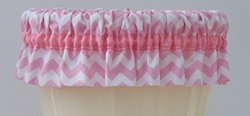 Bathroom Waste Basket Can Cuff - Pink & White Chevron