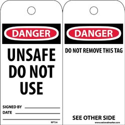 "NMC RPT34 Accident Prevention Tag, ""DANGER UNSAFE DO NOT USE"", 3"" Width x 6"" Height, Unrippable Vinyl, Black/Red on White (Pack of 25)"