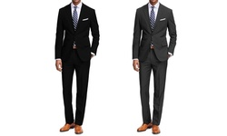 Braveman 2 Pack Men's 2 Pc Suits - Black/Charcoal - Size: 36R x 30W
