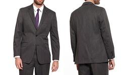 Oxford Republic Men's 2 Button Suit Jacket - Striped Grey - Size: 44L