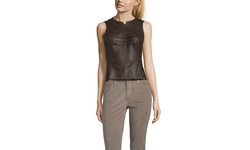 Byron Lars Women's Faux Leather Sleeveless Top - Espresso - Size: 4