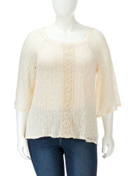 Wrappers Women's Crochet Inset Sweater Top - Cream - Size: 2X