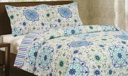 J&V Vera Ashley 3-Piece Printed Quilt Set - Blue Floral - Size: King