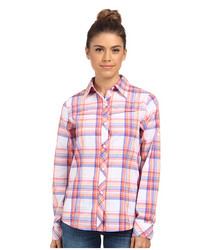 Women's Insect Blocker Plaid Long Sleeve Shirt - Tropic Pink -Size:X-Small
