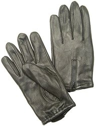 Napa Deerskin Zipper Backed Gloves with Cotton Fleece Lining (Black, XX-Large)