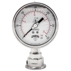 """Winters PSQ Series Aluminum Dual Scale Sanitary Pressure Gauge, 4"""" Dial, 0-300 psi/bar Range, +/-1% Accuracy, 1-1/2"""" Tri-Clamp Bottom Connection"""