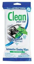 Refresh Your Car! 65050T Automotive Antibacterial Pacific Rain Scent Cleaner Wipes Pouch, 20 Count