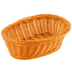 "TableCraft HM1174X 9.25""x6.25""x3.25"" PP Oval Basket - Pack of 6 - Orange"