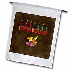 3dRose Seven Candles on Kwanzaa, Bowl of Fruit, Garden Flag, 12 by 18-Inch