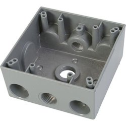 Greenfield 2 Gang Weatherproof Electrical Outlet Box with Three 1/2 in. Holes - Gray