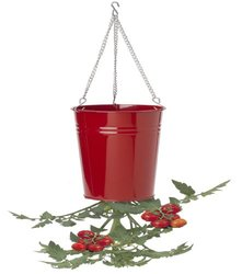 Houston International 8399E Enamel Tomato Hanging Planter - Red