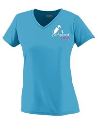Ladies My Dog Is Treated Better Than I Am V-Neck -Powder Blue - Size: XL