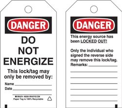 Lockout Tag, 3 x 5-1/2In, Polyester, PK25