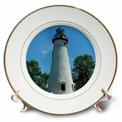 3dRose cp_61708_1 Marblehead Lighthouse Looking Over Lake Erie Porcelain Plate, 8-Inch
